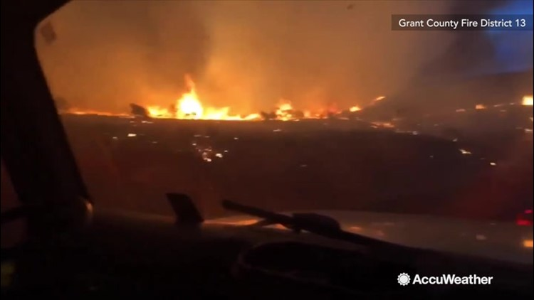 Up close video shows the Powerline fire that firefighters are battling in Washington State