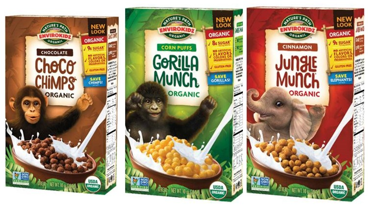 EnviroKidz Choco Chimps, Gorilla Munch and Jungle Munch cereals