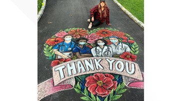 Watch this artist transform a driveway into a chalk masterpiece for medical heroes