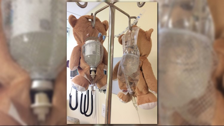 The Medi Teddy has a mesh back so doctors and nurses can monitor the medication. (Credit: CBS via Meg Casano)