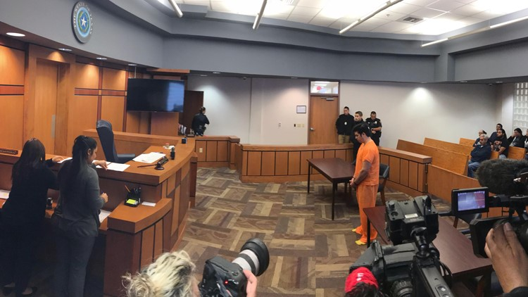 Ricardo Cepeda Jr., 33, stands inside the Edinburg municipal court to face charges.