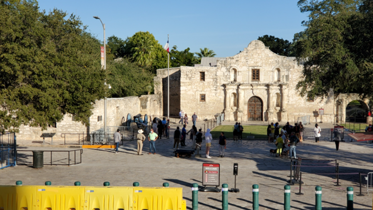Temporary fencing installed around the Alamo ahead of election night