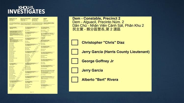 Sample ballot Harris County Precinct 2 constable election