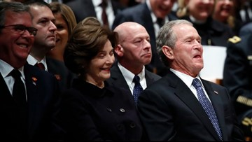 Lighter moments: Bush 41 funeral filled with funny stories, laughter
