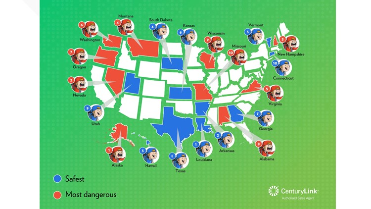 Ranking of the safest and most dangerous states to be online