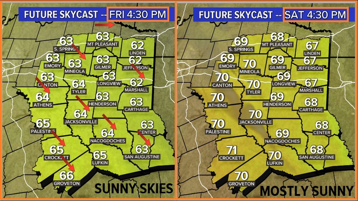 Temps warming up for the end of the work week Across East Texas