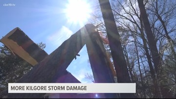 CBS19's Darcy Birden covering storm damage in Kilgore