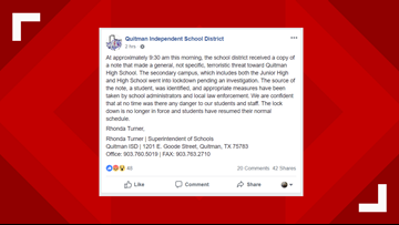 East Texas high school, junior high lift lockdown after identifying source of threatening note