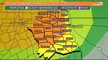 Severe weather expected to return to East Texas tonight through Friday