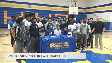 Special signing for two Chapel Hill students