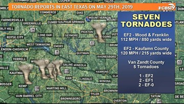 NWS confirms multiple tornadoes in East Texas