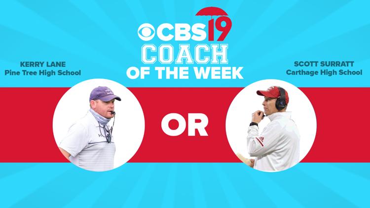 VOTING CLOSED: CBS19's Coach of the Week — Carthage's Scott Surratt vs. Pine Tree's Kerry Lane