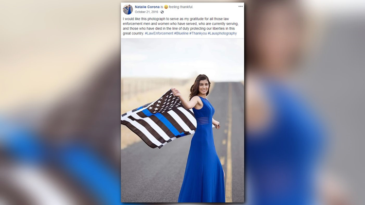 College group protests 'Thin Blue Line' flag pictured with ...
