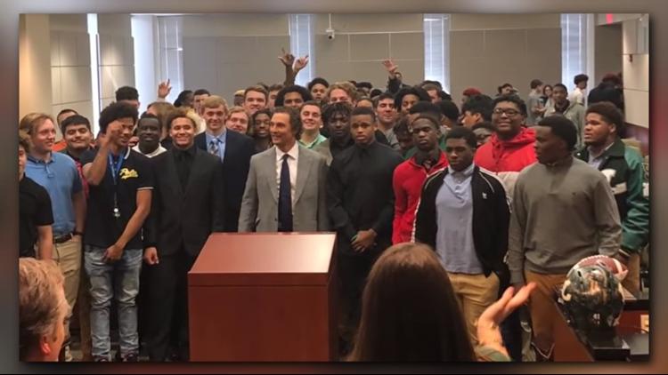 WATCH: Matthew McConaughey delivers personal speech to Longview Lobos football team