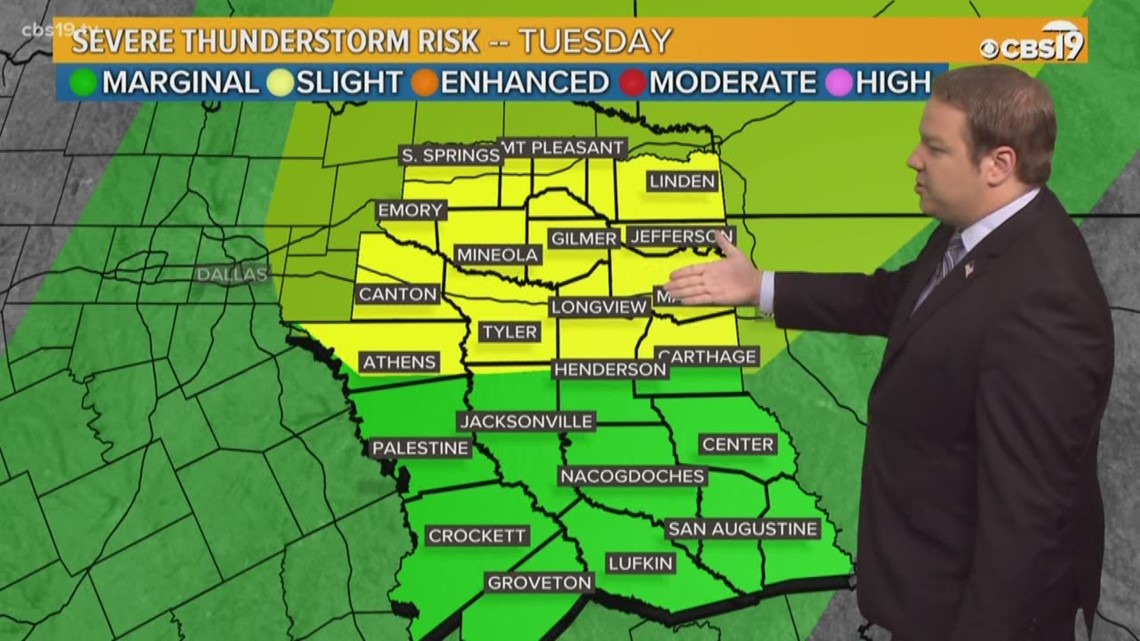 Severe weather threat returns to East Texas Tuesday