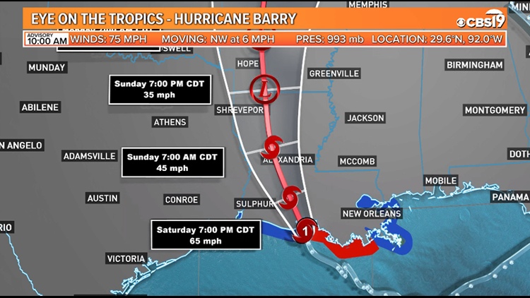 Tracking Hurricane Barry What It Means For East Texas Cbs19 Tv