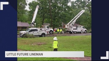NOT ALL HEROES WEAR CAPES: Longview boy adorably admires SWEPCO linemen working to restore power to area residents