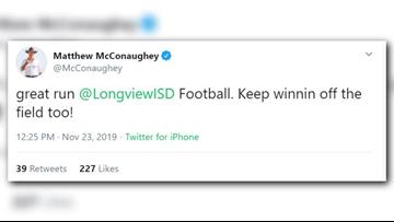 Longview ISD grad Matthew McConaughey congratulates Lobos on 'great run' following loss to Dallas Jesuit
