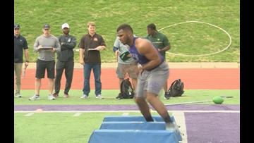 SFA football players take part in Pro Day