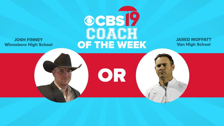 VOTING CLOSED: CBS19's Coach of the Week — Van's Jared Moffatt vs. Winnsboro's Josh Finney