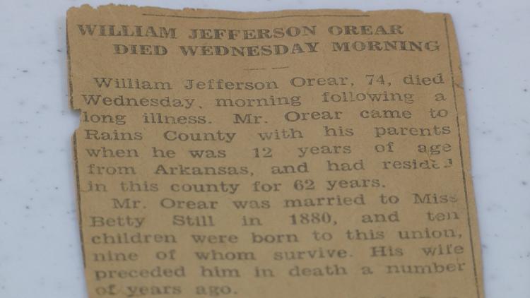 Obituary for William Jefferson Orear found inside the box