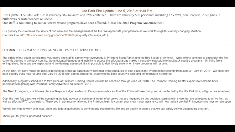 Fires in New Mexico cancel Boy Scouts summer trip | cbs19 tv