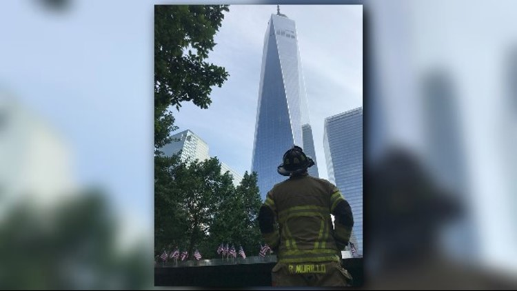 Firefighter Raymond Murillo climbed in honor of Lt. Michael Russo Sr., FD&Y Squad 1.