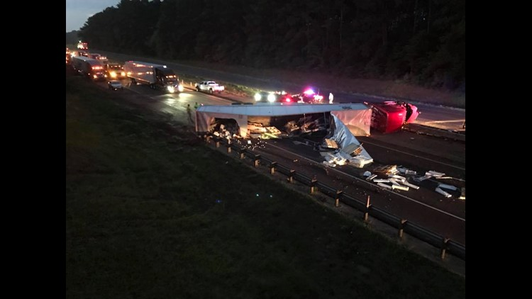 Westbound traffic on Interstate 20 will be diverted at Exit 624 or Farm to Market 2199 until clean up is complete. Marshall Police say it could take several hours.