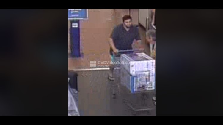 HAVE YOU SEEN HIM?: Police posted surveillance video on Facebook of the man stealing an appliance from a local store.