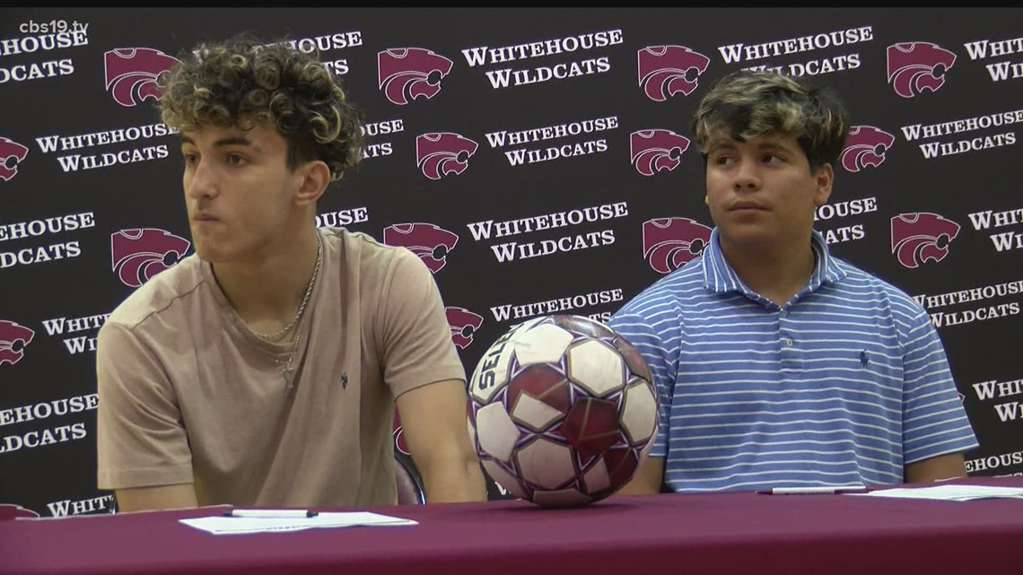 A pair of Whitehouse Wildcats sign their National Letters of Intent play soccer at Northeast Texas Community College