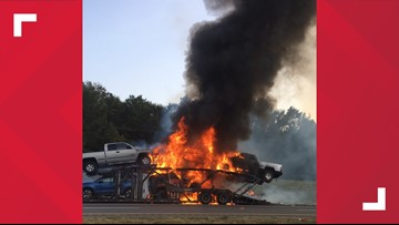 Car carrier catches fire Saturday evening on I-20 in Harrison County