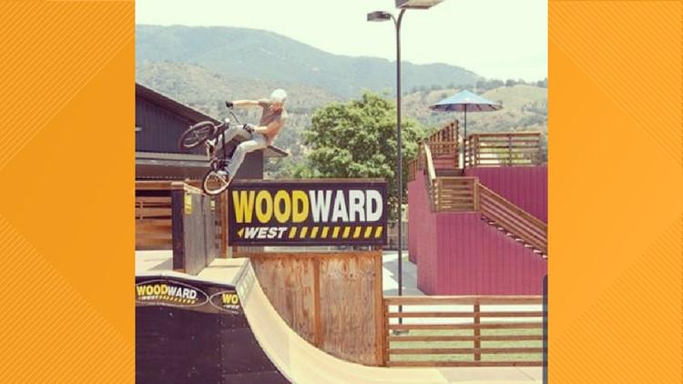 Brian Dodson riding bike at Skatepark
