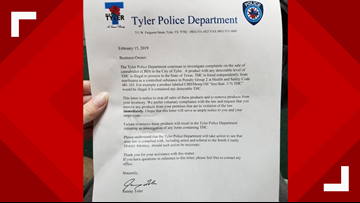 Tyler PD warns local business to stop selling CBD products