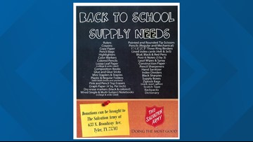 BACK TO SCHOOL SUPPLY DRIVE: Salvation Army in Tyler collecting school supplies for children in need