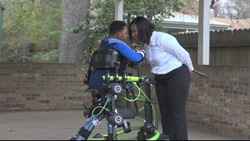 Tyler man with cerebral palsy walks with robotic exoskeleton