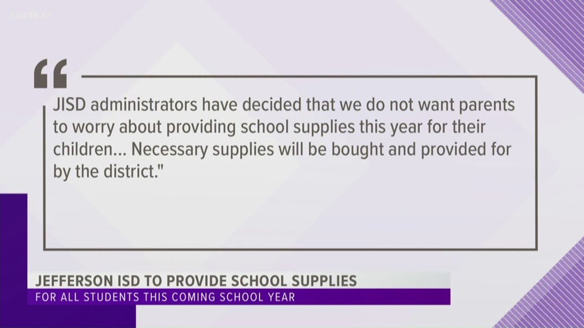 Jefferson ISD to provide school supplies in the fall