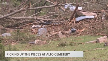 Alto cemetery in need of help after tornadoes