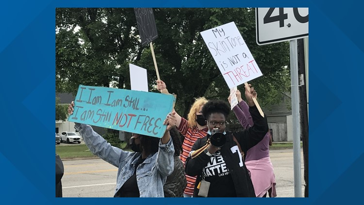 Black Lives Matter protestors march in Lindale in response to video mocking George Floyd's death