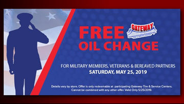 Memorial Day Special: Gateway Tire & Service Center offering free oil change
