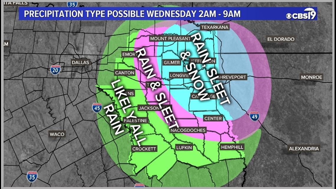 Wintry mix possible early Wednesday morning for East Texas