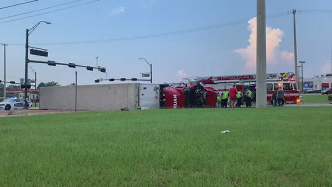 Semi overturns at intersection of Troup Highway, Loop 323 in Tyler