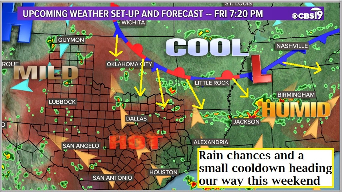 A few chances for rain heading into the weekend for East Texas!