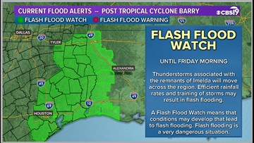 Several counties under flash flood watch, TxDOT monitoring low roads in Deep East Texas
