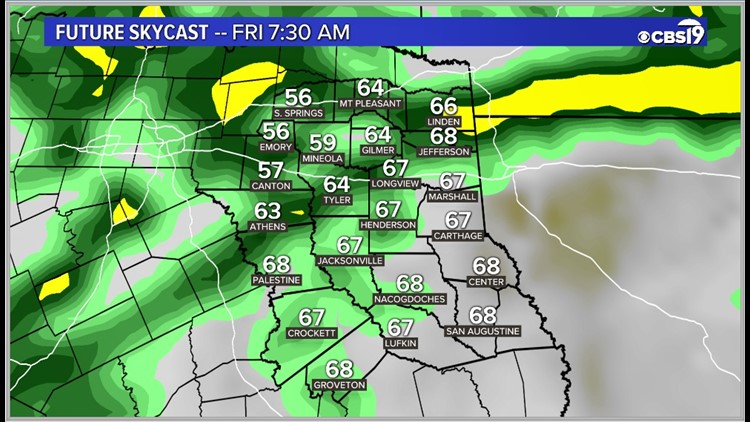 Clouds, wind, rain & cooler weather is on the way East Texas!