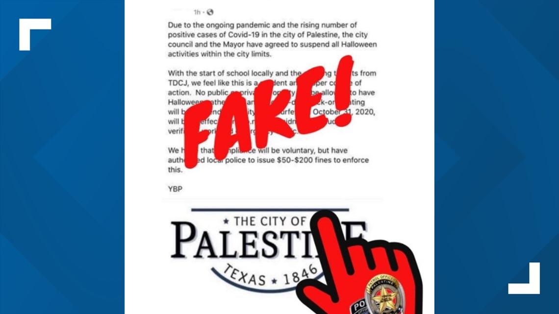 Halloween 2020 Tyler Palestine police address fake social media post announcing