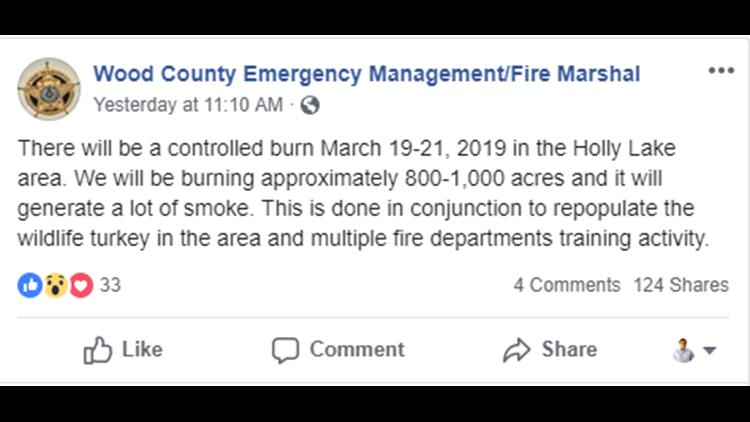 Wood County burning 800 acres