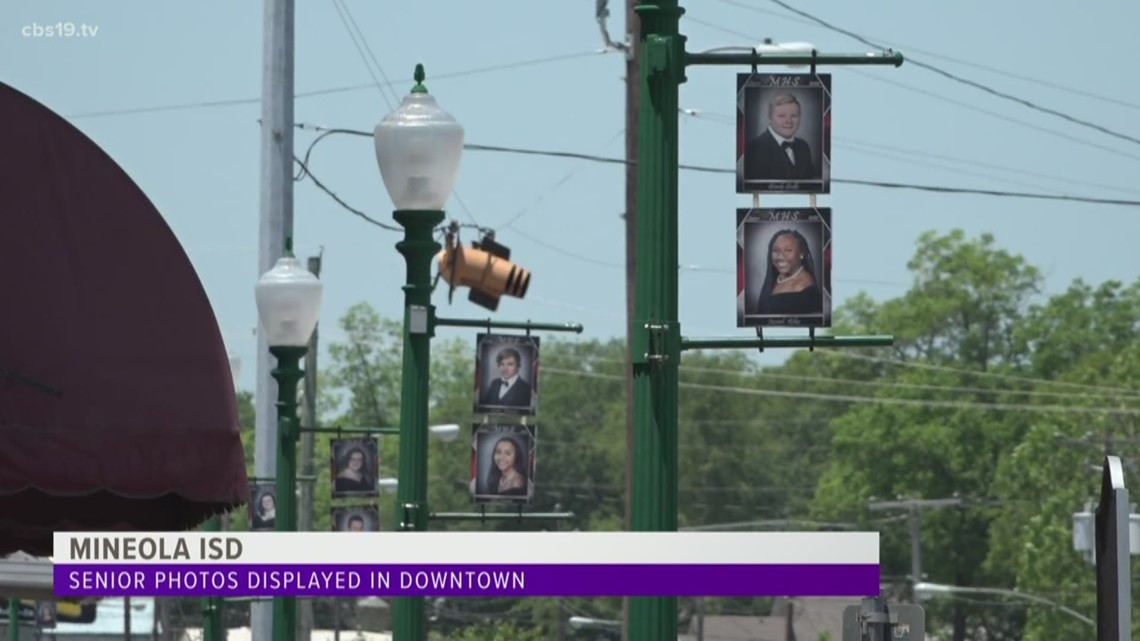 Mineola ISD honors graduating seniors by displaying photos in downtown area