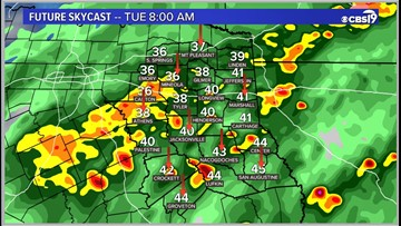 Get ready for a rain filled Tuesday across East Texas
