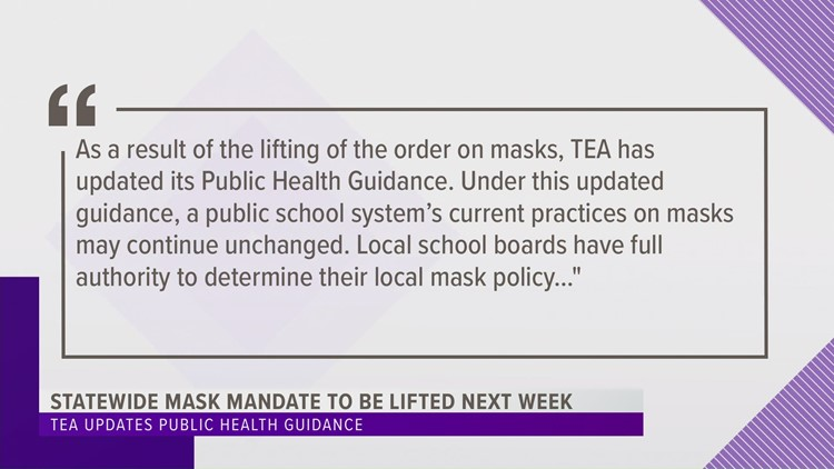 TEA: When mask mandate is lifted, Texas schools can choose their own mask policy