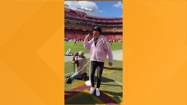 Whitehouse's Jackson Mahomes dances on the late Sean Taylor's memorial
